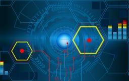 Círculos futuristas del fi del sci de HUD con los datos de Infographic Vector Foto de archivo libre de regalías