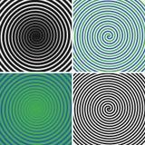 Círculos hipnóticos fijados Colección de fondos espirales psicodélicos Remolinos abstractos de la ilusión óptica de la hipnosis V ilustración del vector