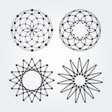 Círculos lineares do vetor, estrelas, logotipos abstratos espirais e formas redondas Elementos do projeto dos pontos e das linhas ilustração do vetor