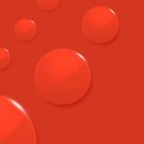 Círculos lustrosos modernos no fundo vermelho do vetor ilustração stock