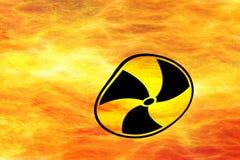 Círculos ou redemoinhos do fogo com radioatividade do sinal de aviso ilustração royalty free
