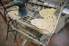 Círculos para las chorreadoras orbitales para la madera imagen de archivo