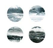Círculos preto e branco isolados no branco imagens de stock