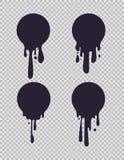 Círculos pretos de gotejamento As formas líquidas redondas cobertas com gotejamentos da pintura para o vetor do logotipo do leite ilustração stock