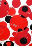 Círculos pretos e de prata vermelhos com linhas de prata no fundo fotos de stock