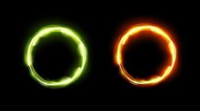 Círculos que brillan intensamente en colores verdes y anaranjados Imágenes de archivo libres de regalías
