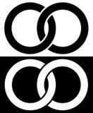 Círculos que entrelazan, icono abstracto de los anillos Concepto ic de la conexión libre illustration