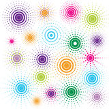 Círculos retros multicolores stock de ilustración