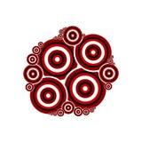 Círculos rojos y negros en el fondo blanco Fotos de archivo libres de regalías