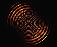 Círculos simétricos do fogo no fundos pretos Foto de Stock