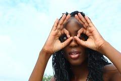 Círculos sobre os olhos fotografia de stock