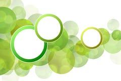 Círculos verdes abstratos do fundo com quadro redondo Imagem de Stock