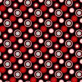 Círculos vermelhos brilhantes em um teste padrão sem emenda geométrico do fundo preto Fotografia de Stock Royalty Free