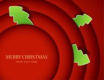 Círculos vermelhos com emblemas da árvore de Natal Fotos de Stock Royalty Free