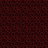 Círculos vermelhos do contorno no teste padrão sem emenda do fundo preto Ilustração do vetor ilustração do vetor
