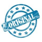 Círculos y estrellas originales resistidos azul del sello Fotos de archivo