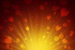 Círculos y fondo abstracto amarillo de los corazones celebración Amor Fotos de archivo libres de regalías