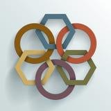 Círculos y fondo ligados de los polígonos Foto de archivo libre de regalías