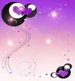 Círculos y heartshapes en púrpura y blanco Imágenes de archivo libres de regalías