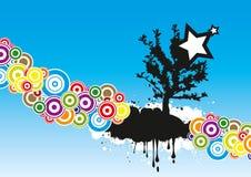 Círculos y un árbol con una estrella Fotos de archivo libres de regalías