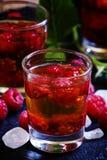 Cóctel alcohólico con alcohol fuerte, jarabe y raspberr fresco imagen de archivo