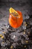 Cóctel alcohólico o sin alcohol con la fruta cítrica anaranjada, la granada con la adición del licor, la vodka, el champán o mart imagen de archivo libre de regalías