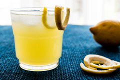 Cóctel amarillo del pájaro con el limón Imagen de archivo