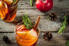 Cóctel caliente con la manzana, romero, canela Foto de archivo