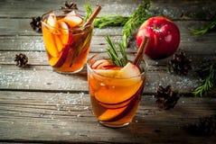 Cóctel caliente con la manzana, romero, canela Imagen de archivo libre de regalías