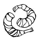 Cóctel cocinado del camarón o de la gamba Aislado en un bosquejo dibujado mano blanca del vintage de la historieta del garabato d ilustración del vector