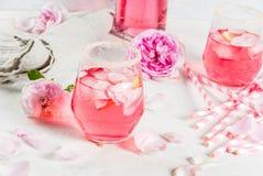 Cóctel color de rosa de la luz, vino rosado foto de archivo