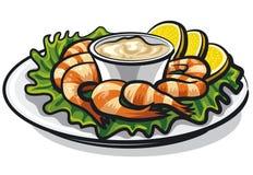 Cóctel de camarones con la salsa libre illustration
