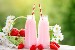 Cóctel de la fresa o batido de leche en un tarro, cesta con las fresas en una comida campestre, comida sana para el desayuno y bo Fotos de archivo