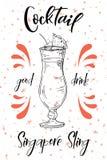 Cóctel de la honda de Singapur Bebida dibujada mano en el fondo blanco Ilustración del vector libre illustration