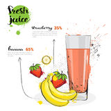 Cóctel de la mezcla de la fresa del plátano de Juice Hand Drawn Watercolor Fruits y del vidrio frescos en el fondo blanco Imagen de archivo libre de regalías