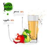 Cóctel de la mezcla de la pera de Apple de Juice Hand Drawn Watercolor Fruits y del vidrio frescos en el fondo blanco Imagenes de archivo
