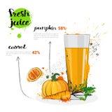 Cóctel de la mezcla de la zanahoria de la calabaza de Juice Hand Drawn Watercolor Vegetables y del vidrio frescos en el fondo bla Imagen de archivo