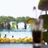 Cóctel de Mojito con hielo en la barra cerca por la piscina imagen de archivo