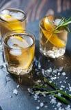 Cóctel del alcohol con hielo y romero que fuma en el limón oscuro de la tabla imagenes de archivo