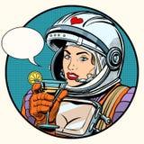Cóctel del cosmonauta de la mujer del amor ilustración del vector