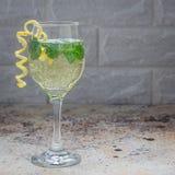 Cóctel del Spritzer con el vino blanco, la menta y el hielo, adornados con ánimo de limón espiral, formato cuadrado Fotografía de archivo libre de regalías
