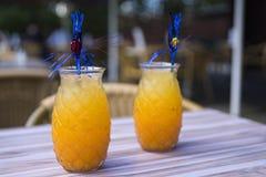 Cóctel del zumo de naranja en vidrio con la paja, en la tabla de la terraza foto de archivo libre de regalías