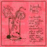 Cóctel dibujado mano del bloody mary Fotografía de archivo libre de regalías