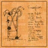 Cóctel dibujado mano del escorpión ilustración del vector