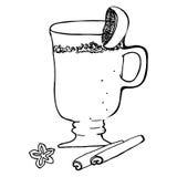 Cóctel dibujado mano reflexionado sobre del ejemplo del vector del bosquejo del vino con la naranja Bebida retra del Año Nuevo de Fotografía de archivo libre de regalías