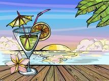 Cóctel en la playa en la puesta del sol, bosquejo del paraíso del tiempo de verano stock de ilustración
