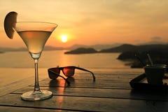 Cóctel en la puesta del sol Imagen de archivo libre de regalías
