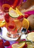 Cóctel rojo con la fruta fresca Fotografía de archivo