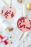 Cóctel rosado para la Navidad Foto de archivo