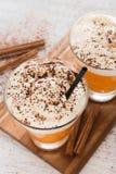 Cóctel sin azúcar de la calabaza con el cinammon y la crema Imagen de archivo